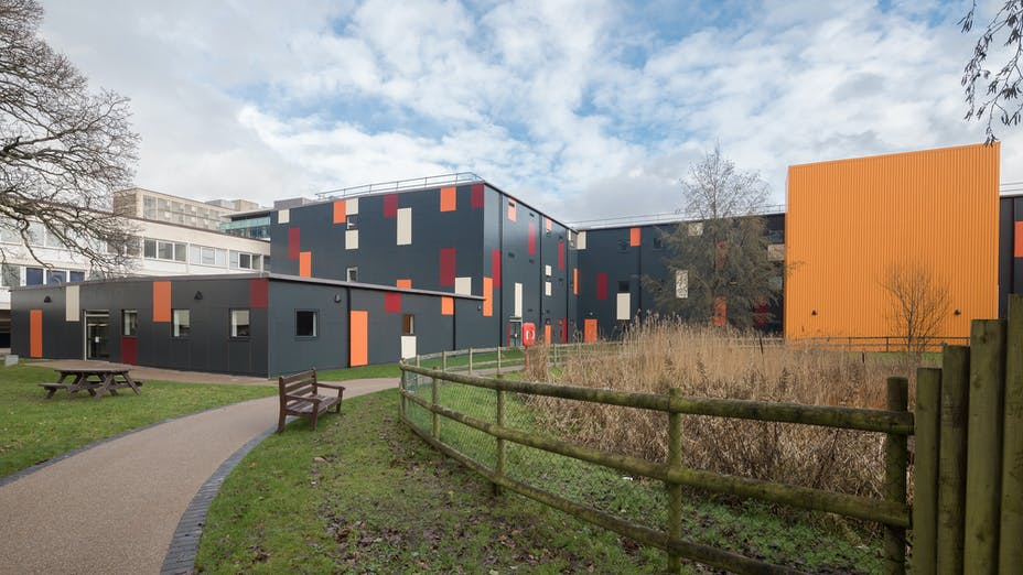 Case study Cardiff Hospital  Rockpanel Colours RAL 7016, RAL 3004, RAL 1015, RAL 2010