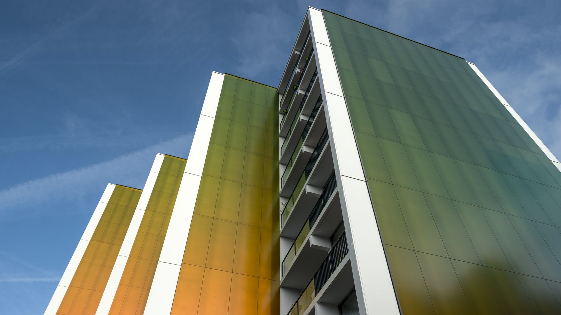 The Weezenhof, multi-unit family houses (Appartment blocks) in Nijmegen, The Netherlands. Cladded with Rockpanel Chameleon
