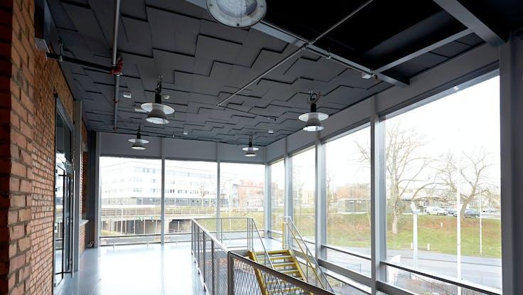 Parafon Step Direct ceiling in colour grey installed at Assar Innovation Centre in Skövde, Sweden.