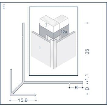 Profil E - Eckprofil mit Schnittkantenüberdeckung