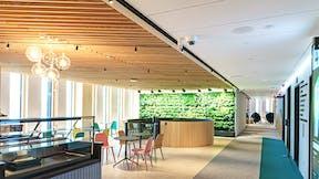 Corridor in office Wood City in Helsinki Finland with Rockfon Sonar in M-edge