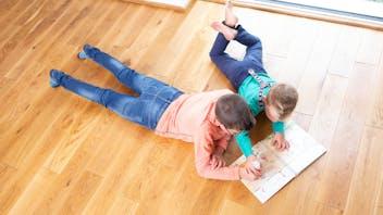 floor, family, kids playing, wooden floor, Familie Köhler, DIY, Kottenheim, germany