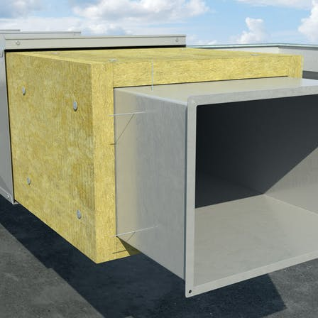thermal insulation of steel ventialion duct on the roof, outside the building