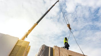 crane working on a prefabricated building