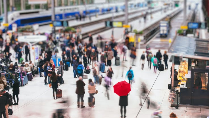 RockWorld imagery, The Big Picture, people, train, station