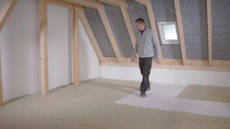 Dachbodendämmung, Verarbeitung, Anleitung, Video,  wartungsweg, begehbar, attic insulation, steps, varirock, tegarock, thumbnail