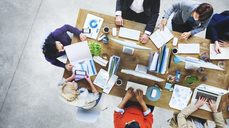 Illustrative image, office, meeting, collaboration, mobile devices, laptops