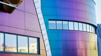 Swimming pool Wodny Park in Tychy, Poland cladded with Rockpanel Chameleon facade cladding