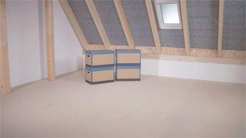 Dachbodendämmung, Verarbeitung, Anleitung, Video, begehbar, Lagerfläche, attic insulation, steps, tegarock, osb, thumbnail