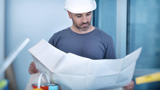Illustrative image, architect, builder, worker, layout plan, blueprint, documents,  construction site