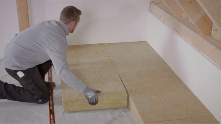 Dachbodendämmung, Verarbeitung, Anleitung, Video, begehbar, lagerfläche, attic insulation, loft insulation, steps, tegarock, osb, thumbnail
