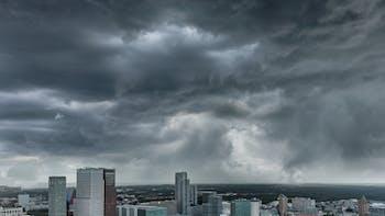 rain clouds city rockflow dark water management