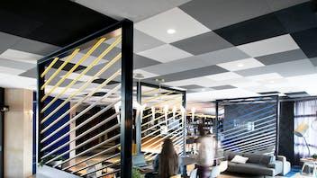 FR, Hôtel Mercure Hyères Centre, Hyères, Karolina Lubkowski, KL Studio Design, Leisure, Rockfon Color-All, X-edge, 600x600, Different shades of grey, white, black, Hotels