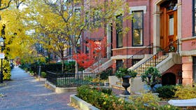Residential street in Back Bay, Boston. Autumn