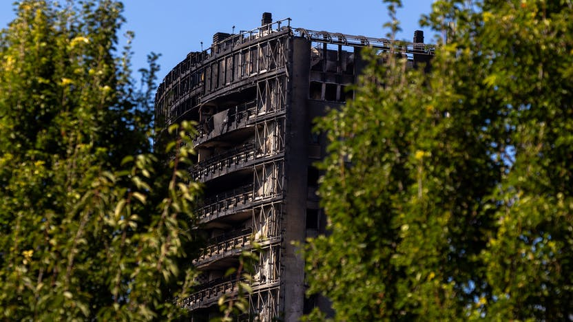 A high-rise building in Milan on fire
