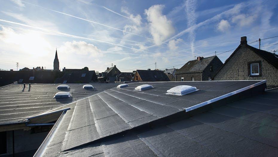 roof, flat roof, flatroof, flachdach, reference, kassenlager kottenheim, bitrock, glued roof, germany