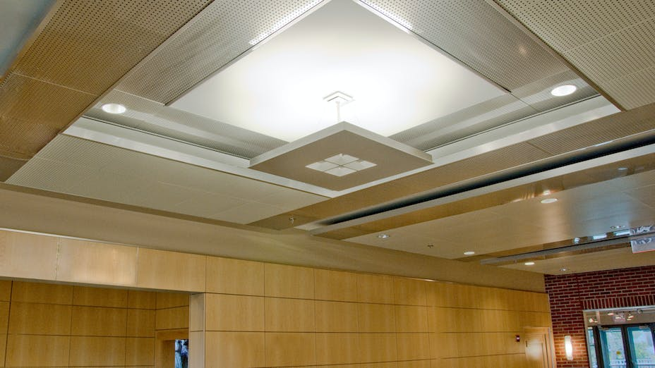 North Carolina History Center at Tryon Palace, Jennifer Amster, BJAC, Quinn Evans, Bill Barlow, Acousti Engineering Co., Planostile Snap-in Metal Ceiling Panels, Infinity Perimeter Trim, Dustin Shores Photography
