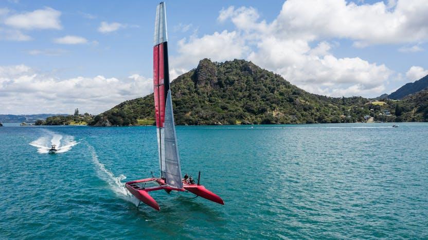Denmark SailGP team sailing in Bream Bay