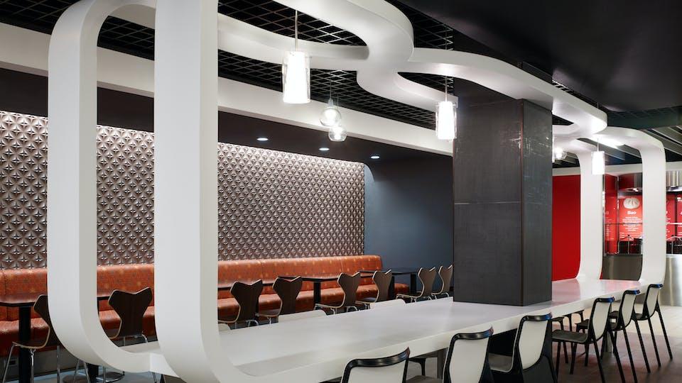 Featured products: Rockfon® Intaline™ V-Base Metal Baffle Ceilings - Rockfon® Magna T-Cell™ Open Plenum Ceiling System - Rockfon® Infinity™ Engineered Perimeter Trim