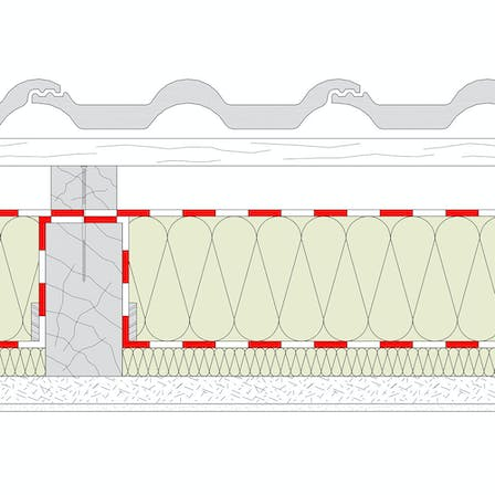 products, pitched roof, insulation between the rafters, klemmrock, rocktect, dasatop, rocktect dasatop, dasatop variante, dasatop without insulation above the rafters, graphic, schema, drawing, germany
