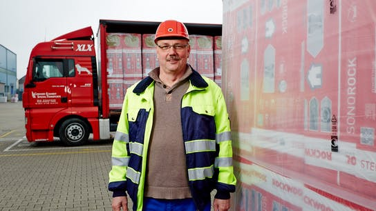 rockwool employee, logistic, delivery, truck, loading, production facility, germany