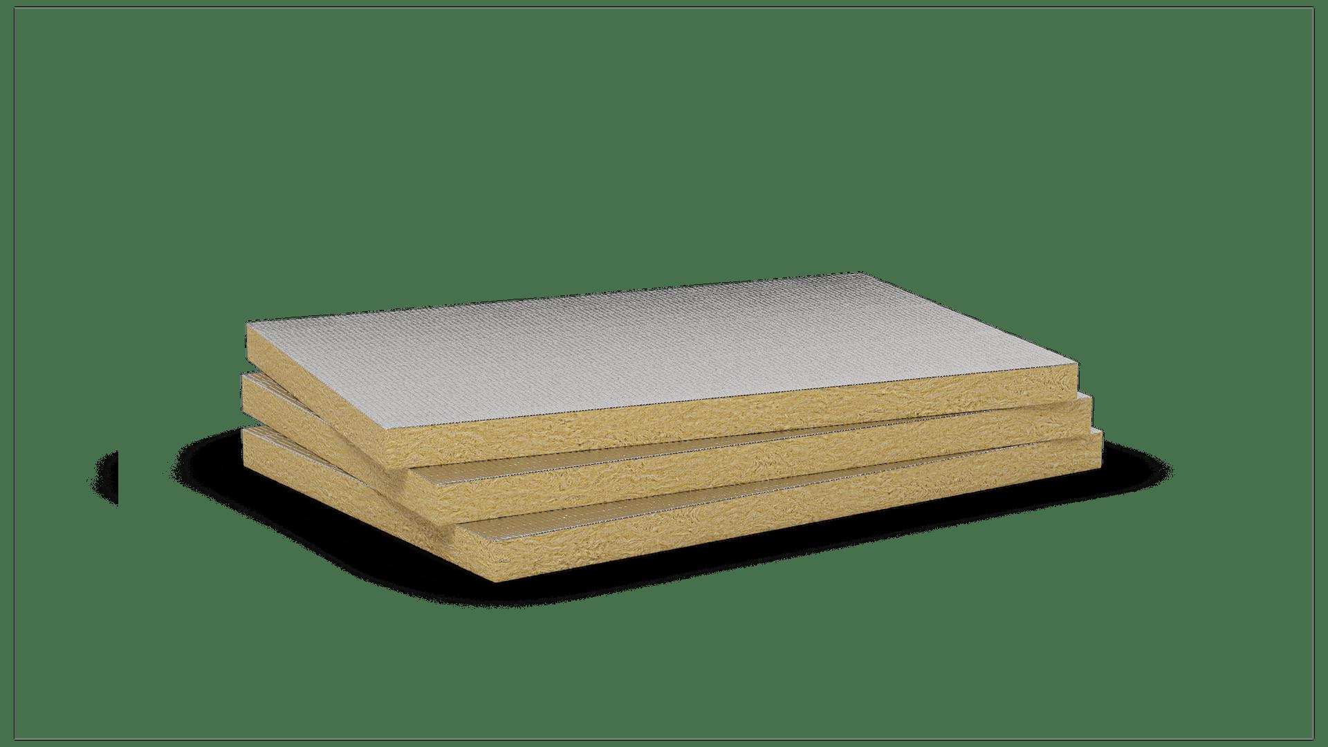 Mono density, mid-high density stone wool slab with aluminium coating. Product: Airrock HD Alu