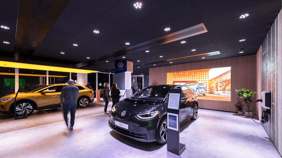 VW Showroom in Copenhagen with Rockfon Color-all Black in X-edge