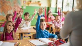 Mood, education, children, classroom, raised hands