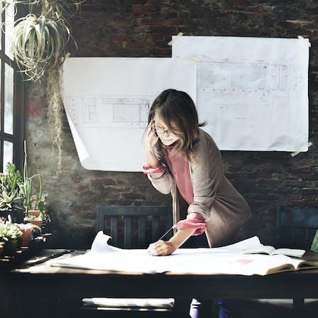 Illustrative image, architect, blueprints, office, architecture, woman, creative, plants, light, windows