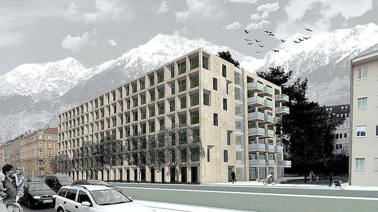 reference, anton-melzer-straße 10 innsbruck, am10 innsbruck, fixrock, ventilated facade, vhf, visualisation, rendering, innsbruck, austria