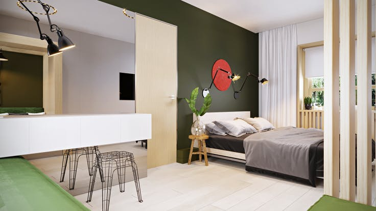 """news article, TV program about apartment renovation """"Dachnyi Otvet"""", Scandik, Acoustic Batts, chairs, living room, bedroom, bed"""