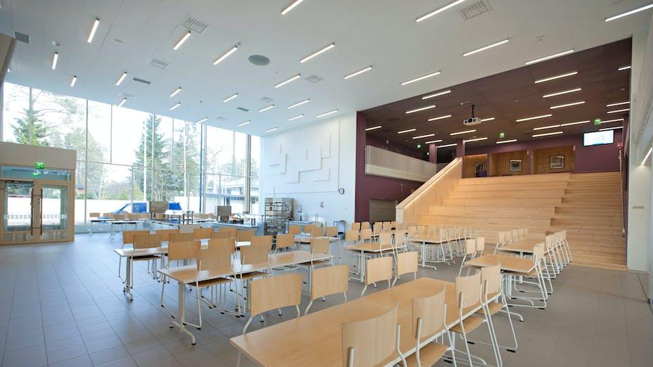 FI, Chydenius School, Kokkola, Education, Esa Kyyrö, Rockfon Sonar, Rockfon Color-all, Edge-X, 600x1200, White, Purple, Canteen