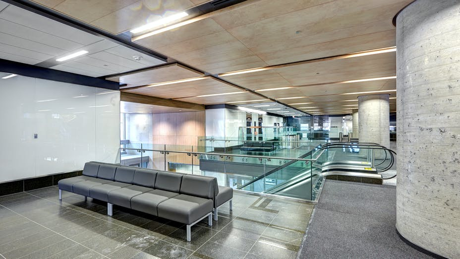 """90 Elgin, Ottawa, Canada, 34.123 m2, Rockfon Specialty Metal Ceilings, Chicago Metallic, Dialog, MCROBIE Architects + Interior Designers, Ron Engineering and Construction/State of the Art Acoustik Inc., The Great-West Life Assurance Company (Building), Government of Canada (Land), Advance Drywall Ltd./Morin Bros. Builiding Supplies, LEED, Bochsler Creative Solutions, SpanAir Hook-On, Planostile Lay-In, Reveal, 24"""" x 48"""", 24"""", 48"""", 72"""", 96"""" and 120"""", Black, Satin Silver, WoodScenes Lazy Maple"""