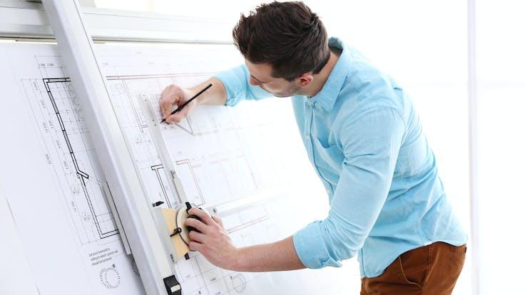 Illustrative image, architect, design, building design, blueprint, construction, plan, office, man, drawing