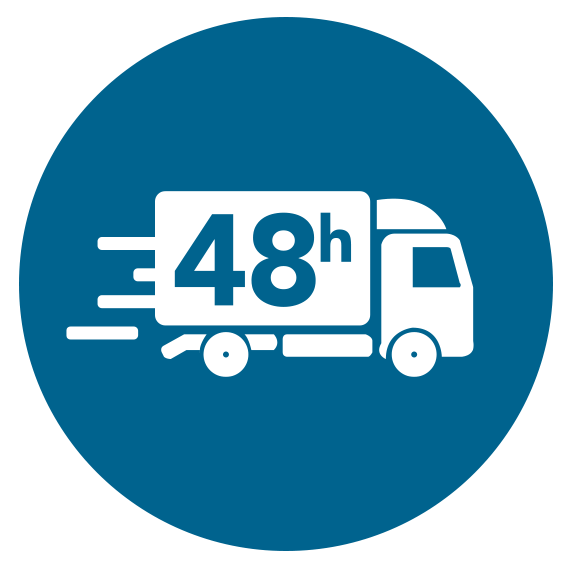 icon, delivery service, logistics, truck, lorry, 48h, 48 hour deliver, icon, white on blue, png