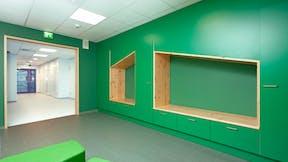 FI, Chydenius School, Kokkola, Education, Esa Kyyrö, Rockfon Koral, Edge-A, 600x600, White, Corridor
