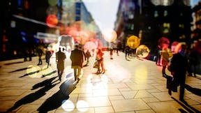 city, people walking, outdoors, commercial, buildings