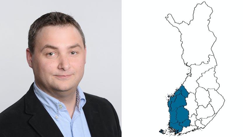 contact person, sales representative, profile and map, Markus Salin, rockfon, finland, FI