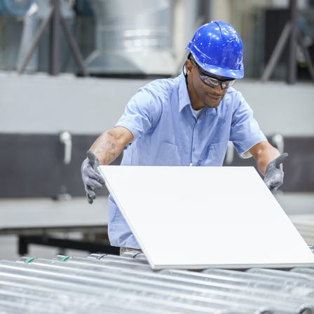 marshall county, mississippi, Mar 4, tile plant, manufacturing, Rockfon, ceiling tile, cartons, worker, tile inspection, production