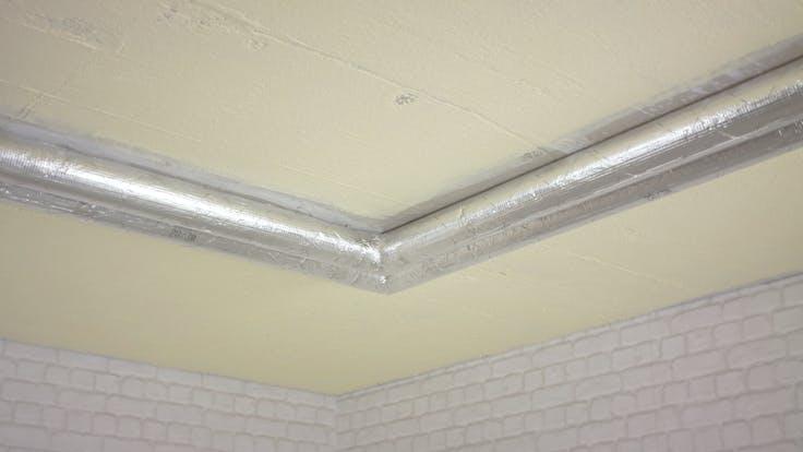 cellar, basement, cellar ceiling, basement ceiling, pipes, pipe insulation, installation, rockwool 800, rockwool alufix, alufix, heizungsrohre, isolieren, germany
