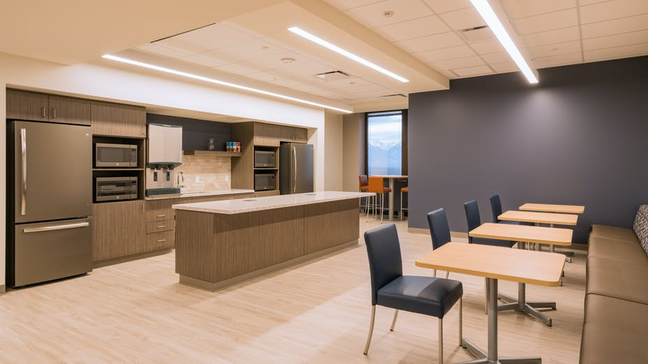 """NA, Intermountain Healthcare Corporate and Executive Offices, Koral SQ (A-Edge) 2x2 and 2x4, 1200 15/16"""" Exposed, Kitchen, Office, AJC Architects, Renovation"""