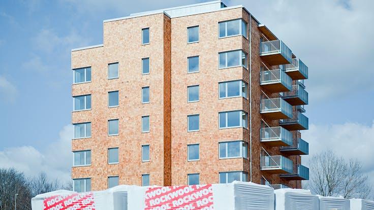 Reference case, Sweden, Skövde, facade, apartments, massive wood, REDAir Flex, Frostaliden