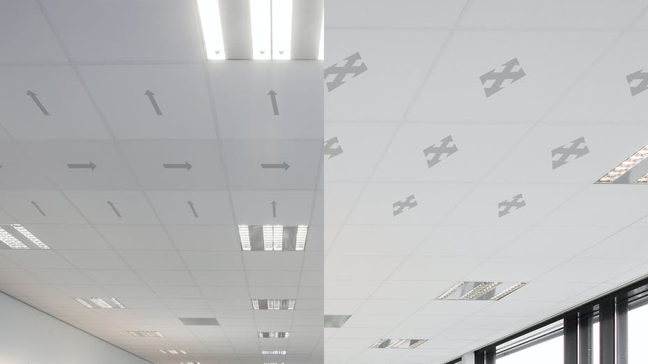 Product landing page, Rockfon Blanka, directionless ceiling installation