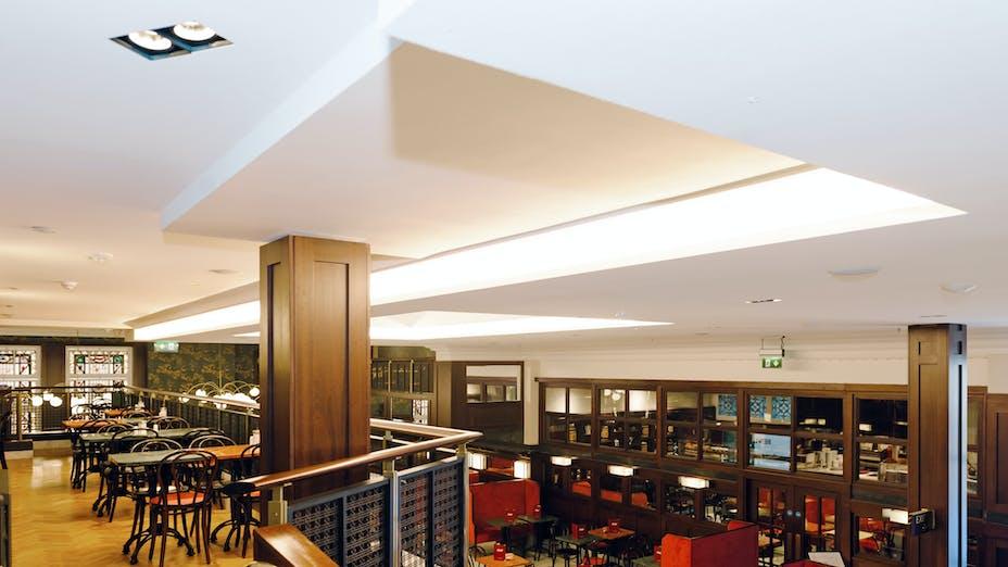 UK, Bewley's Café,  Gilligan Architects, Retail, Restaurant, Rockfon Mono Acoustic, Elegant render, 1800x1200, white