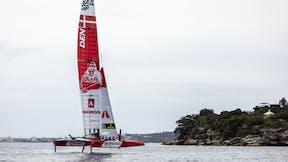 Denmark SailGP Team in Sydney, rock, rocks, cliffs, water, boat