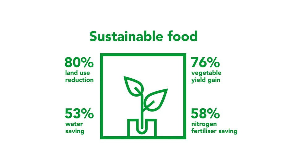 Sustainable growing, growing more with less, Grodan infographic, sustainability report 2020