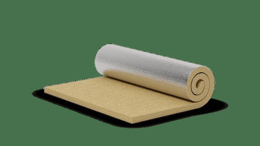 Stone wool roll with aluminium. Products: Cod. 128, Cod. 129, Roulrock ALU, ROCKWOOL 133, ROCKWOOL 133, Fieltro 128, Manta 129