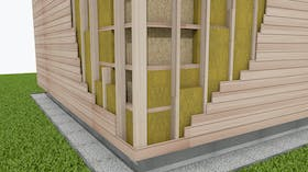 Wooden building, facade, ETICS, construction of the wall of a wooden building with insulation
