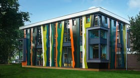New part of school buidling cladded with Rockpanel Brilliant in Maasienl (Roermond), The Netherlands