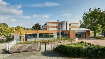GBS Nordhorn in Nordhorn, Germany cladded with Rockpanel Woods and Chameleon facade cladding